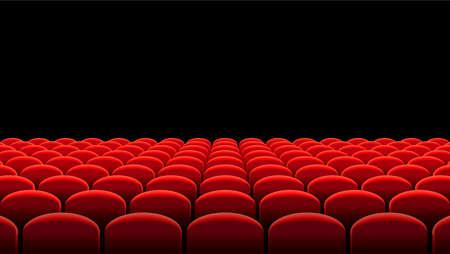 Vector illustration of Rows of red velvet seats of a dark cinema or theater hall Ilustração