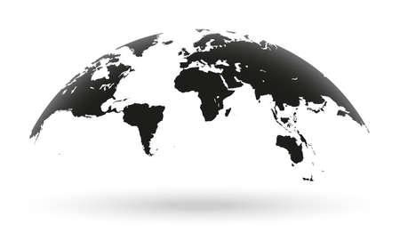 Gedetailleerde zwarte wereldkaart, in kaart gebracht op een open wereldbol, geïsoleerd op een witte achtergrond Stock Illustratie