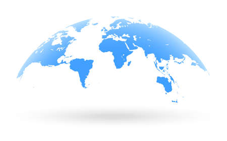 Detailed blue world map, mapped on an open globe, isolated on white background
