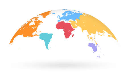 Detailed colored world map, with different colors for each continent, mapped on an open globe, isolated on white background