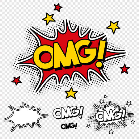 Vector Oh My God Comic Illustration with Black and White Version and single elements. Stock Vector - 89267505