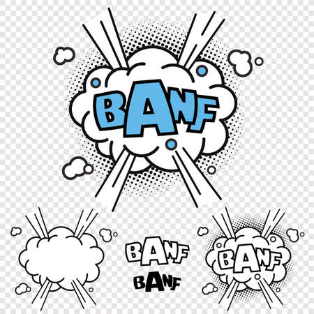 Vector BANF Comic Illustration Effect, With Black and White Version and single elements