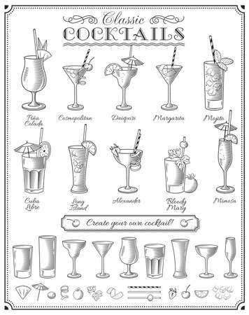 Big Cocktails vector illustrations set with all the most famous cocktails, glasses and ingredients