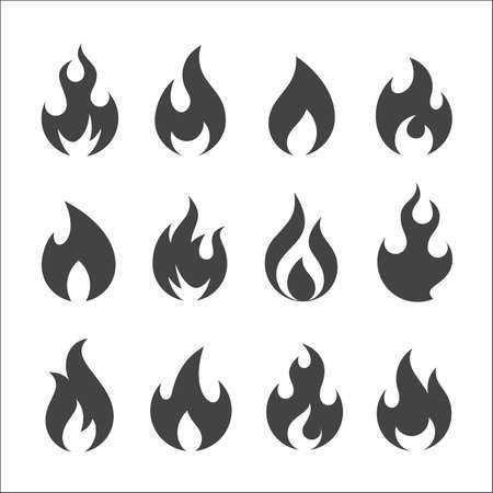 Set of twelve round flat black icons of flames and fire. Illustration