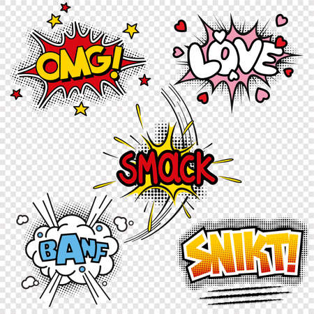Set of five black and white vector illustrations of comic sound effects Illustration