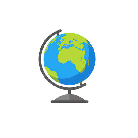 Colorful vector illustration of an earth globe in flat style