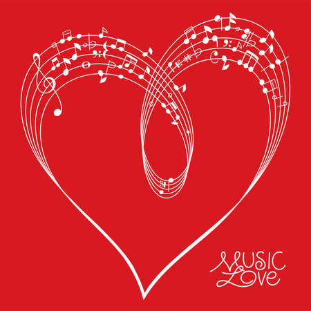 Musical Pentagram bended to create a Heart Shape on red Background, vector illustration