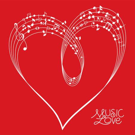 Musikalisches Pentagramm gebogen, um eine Herzform auf rotem Hintergrund zu schaffen, Vektorillustration