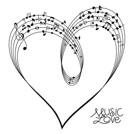 Musical Pentagram bended to create a Heart Shape on white Background, vector illustration