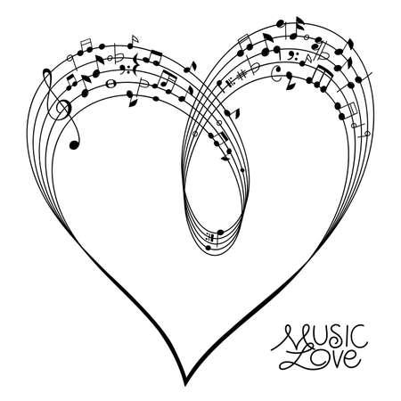 Musical Pentagram bended to create a Heart Shape on white Background, vector illustration Illustration