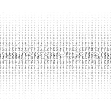 Vector texture of different size and shades of grey numbers 0 and 1 composing binary code