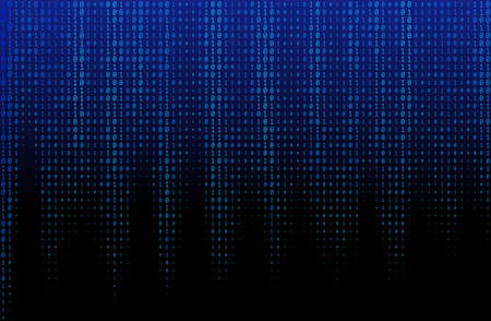 Vector texture of different size and shades of blue numbers 0 and 1 composing binary code faaling from above
