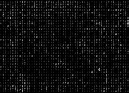 Vector texture of different size and shades of grey numbers 0 and 1 composing binary code on a dark background Çizim