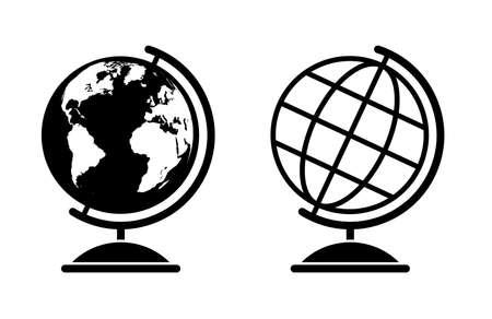Ensemble de deux illustrations de globes vectoriels avec carte du monde et globe filaire Vecteurs