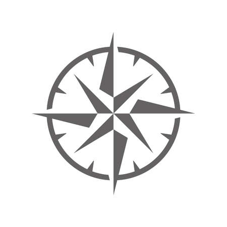 Vector Illustration of a Simple Wind Rose Symbol Icon