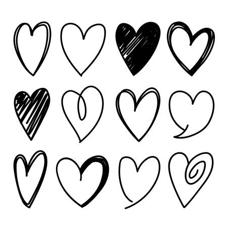 Collection of twelve heart shapes sketched vector icons