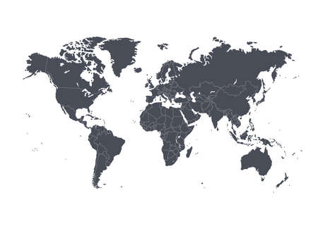 Dark world map vector illustration with political borders on white background
