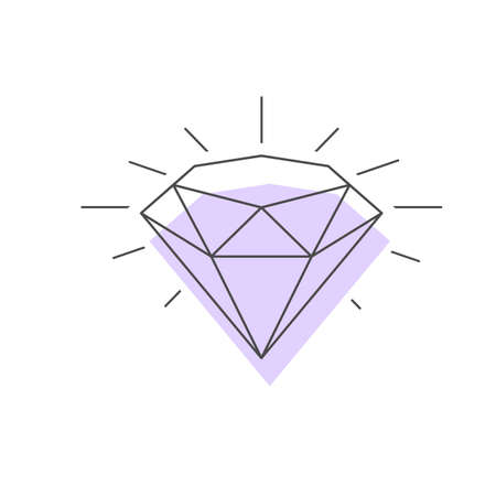 Wireframe vector icon af a three quarters view of a Diamond precious Stone.