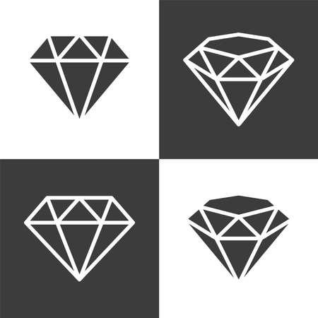 Vector illustration of a diamond, side view and three-quarters view in flat and outline style. Illustration