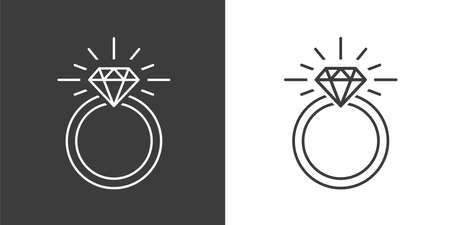 Vector icon Illustration of a Diamond mounted Engagement Ring on White and Black Backgrounds Vettoriali