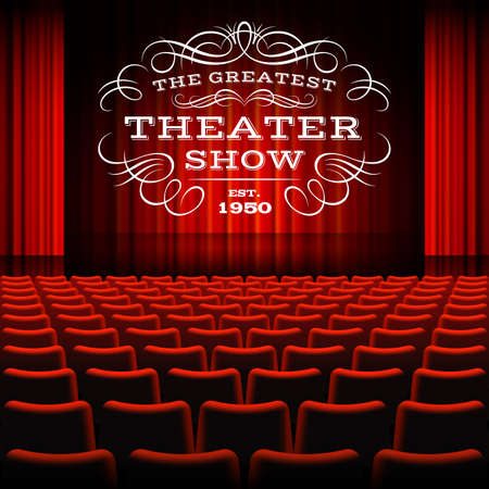 Premium red curtains stage, theater or opera background, with text and frame for show ad