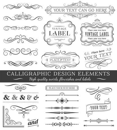 Huge set or collection of vector filigree flourishes for design, isolated on white background Illusztráció