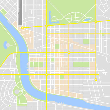 Abstract city map with rivers and parks with classic map application colors range.