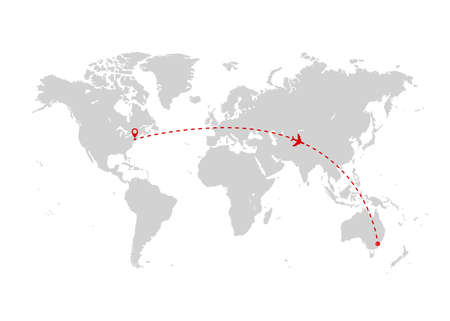 World map with red airplane route. Travel and tourism concept. Vector illustration Illustration