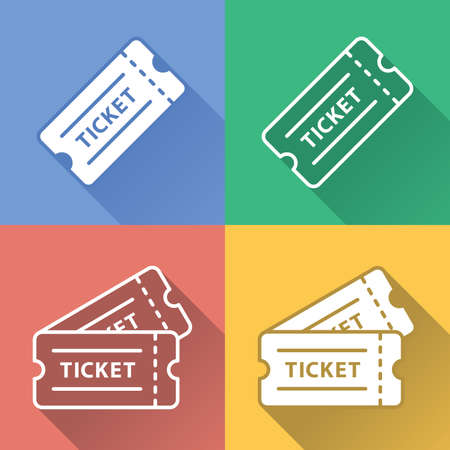 Full Vector Colorful Set of Cinema or Entertainment Event Raffle Ticket Icons with Long Shadow