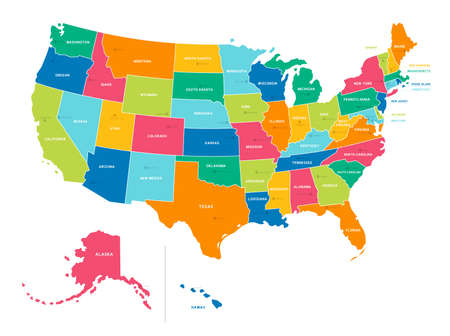 Bright Colors Full Vector Political Map of the United States of America, isolated on White Background Иллюстрация