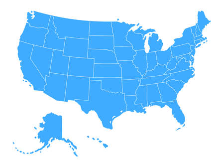 Vector Political Blue map of The United States of America on white Background Ilustrace