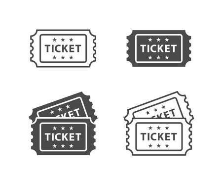 Icône de billet sur fond de Vector noir et blanc Vecteurs