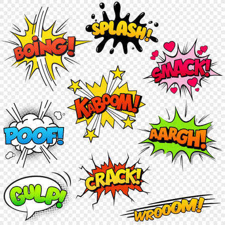 Collection of nine multicolored comic sound Effects