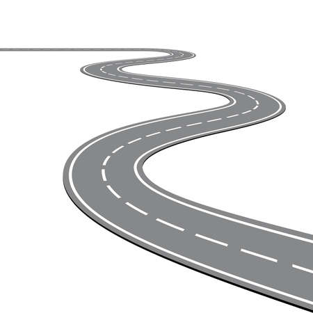 Creative vector illustration of winding curved road. Art design. Highway with markings