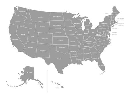 Map of the United States of America split into individual states Ilustração