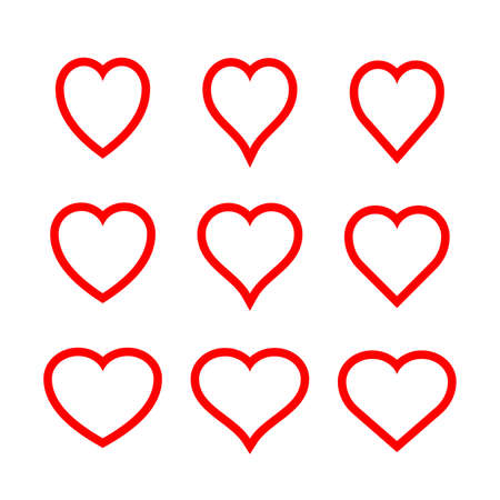 Collection of heart illustrations, set of hearts, love symbol Stock Vector - 118908111