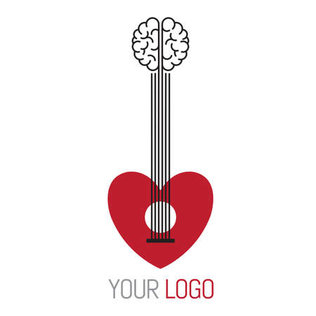 Mind and heart connected by the strings of a guitar as a music concept logo