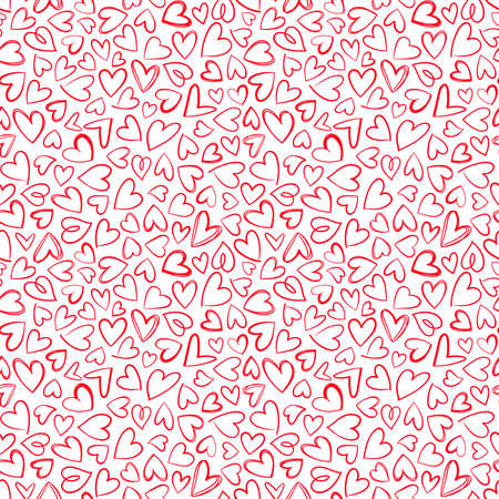 Red heart hand drawn seamless pattern texture.