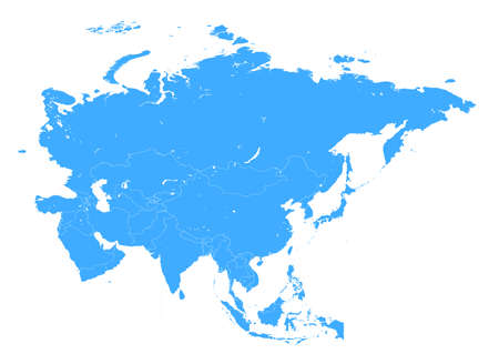 Vector high detail Blue Asia Map with white borders isolated on white Background 向量圖像