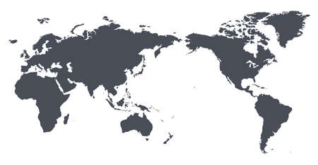 Vector World Map Outline Contour Silhouette - Asia in Center Ilustracja
