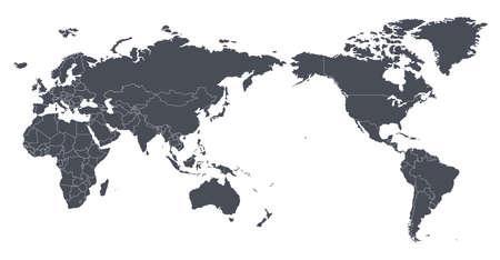 Vector silueta de contorno de mapa mundial con fronteras internacionales - Asia en el centro
