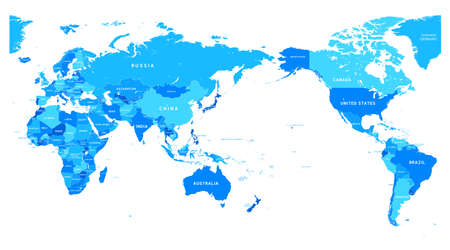 Political blue World Map Pacific Centered