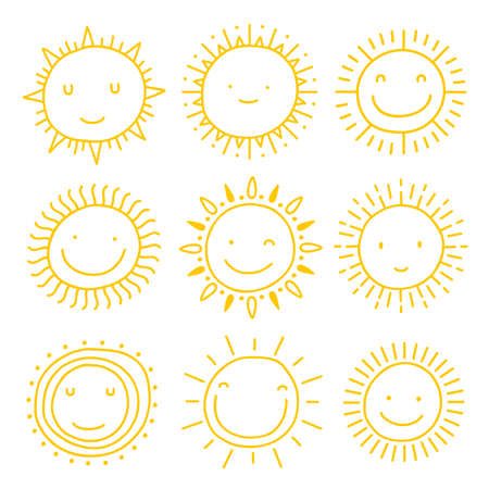 Vector set of sun icons. Collection of suns