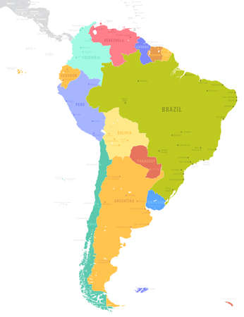 Political South America Map vector illustration isolated on white background