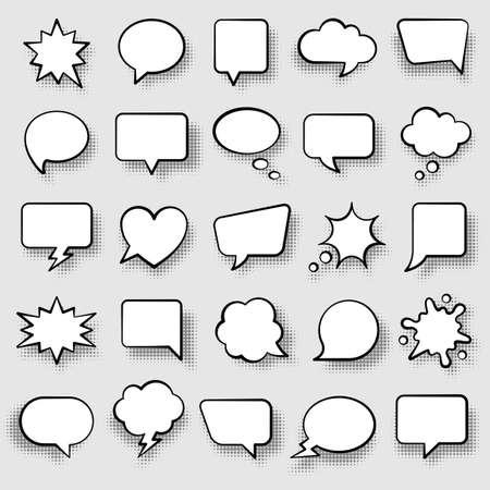 Set of comic speech bubbles. Cartoon vector illustration