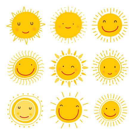 Cute hand drawn sun character vector collection Illustration