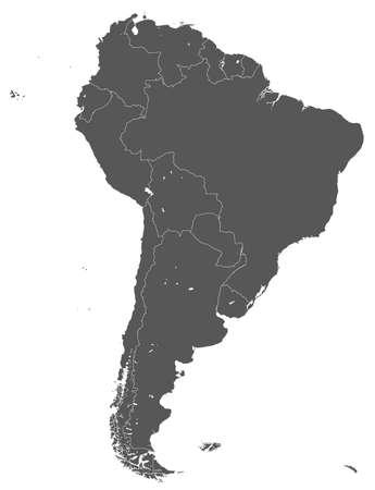 Territory of South America continent. White background Ilustração