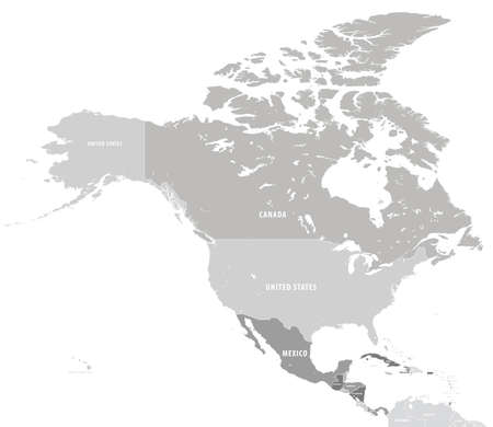 North America with countries grey Map Illustration