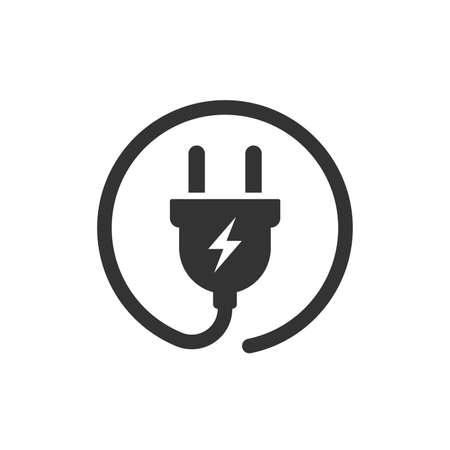 Icono de vector de enchufe. Ilustración de icono plano de cable de alambre de alimentación