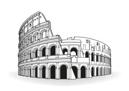 Icona di doodle di contorni disegnati a mano del Colosseo di Roma